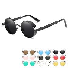 Mens Sunglasses Vintage Steampunk Style Round Mirror UV400 Outdoor Sport Eyewear
