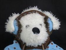 WINTER WHITE TEDDY BEAR BLUE BROWN POLKADOT SWEATER EARMUFFS PLUSH HOLIDAY TOY