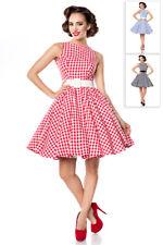 Karokleid süßes Retrokleid mit Karos Tellerrock Rundhals 50er Jahre Kleid