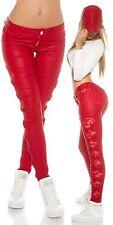 Pantaloni in pelle con inserti in pizzo H19011