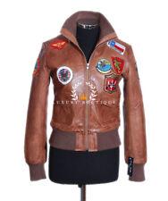 Ladies Top Gun Tan Women's Aviator Casual Real Lambskin Bomber Leather Jacket