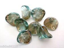 12 12mm Czech Glass Three Petal Flower Beads: Aquamarine - Celsian
