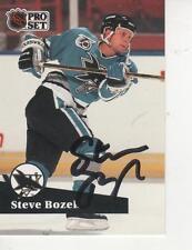 STEVE BOZEK SIGNED 1991-92 PROSET #486 - SAN JOSE SHARKS