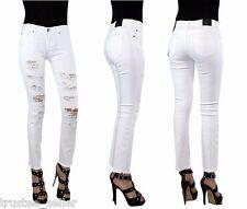 True Religion Women Cora Destroyed White H Waist Denim Jeans Slim Crop Pants