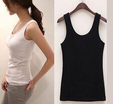Le donne Plain canotta senza maniche Slim Fit T-Shirt Basic COTONE CANOTTE