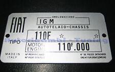 TARGHETTA RIASSUNTIVA DATI FIAT 500 F L TELAIO MOTORE C275 IN ALLUMINIO
