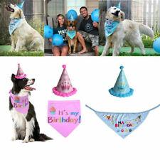 UK Pet Dog Cat Birthday Hat Headwear Bandana Neckerchief Ties Party Fancy Dress
