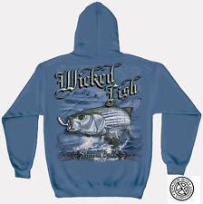 Erazor Bits Sweatshirt Hoodie- Wicked Fish - Striped Bass - Blue