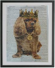Ruby King Charles Cavalier Dog Dictionary Wall Art Print No.76, spaniel art