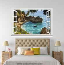 3D Blue Sea Sunny 318 Open Windows WallPaper Wandbilder Wall Print AJ Jenny