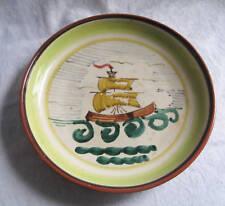 Vintage Art Pottery Ship Plate Slipware Finland Redware