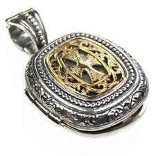 Gerochristo 3350 ~ Medieval-Byzantine Solid 18K Gold & Silver Locket Pendant