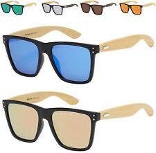 Mens Ladies Sunglasses Bamboo Wooden Wood Flat Top Lens Visor Large Square Big