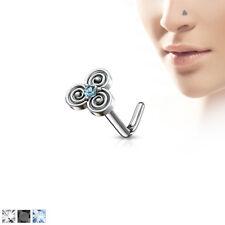 1pc CZ Gem Triple Swirls L-Bend 20g Nose Ring Stud Screw 316L Surgical Steel