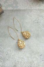 Plated Filigree Teardrop Long Dangle Hook Ladies 18KYellow Gold Earrings Jewelry