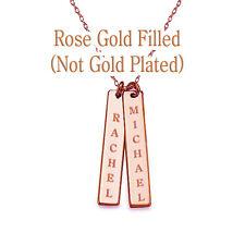 Personalized Monogram Initial Name Bar Necklace 14K Rose Gold Filled Custom Engr