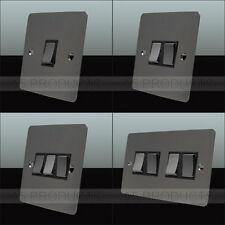 10 Amp 2 Way Wall Light Switch 1 2 3 & 4 Gang Polished Mirror Black Nickel Flat