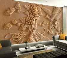 3D Graue Blumen, Vögel 5678 Fototapeten Wandbild Fototapete BildTapete FamilieDE
