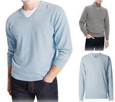 NUOVO Ex M&S Uomo V-Neck Maglione morbido lavorato a maglia a maniche lunghe Pullover Maglione Taglia S-XL