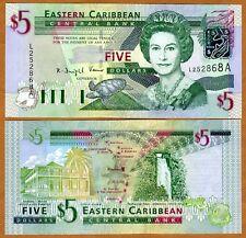 Eastern East Caribbean, $5 (2003) Antigua, P-42a UNC