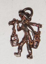 Vintage Antiguo Sterling 925 Colgante De Plata Maciza hombre chino encanto Qing