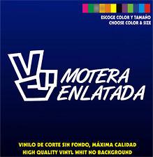 MOTERA ENLATADA - Sticker Vinilo - Escoge color y tamaño - Pegatina - Coche Moto