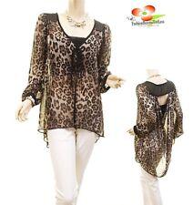 Women Gray Cheetah Hi-Lo Cutout Back Draped Faux Silk Chiffon Blouse Shirt Top