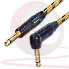 Gold Neutrik Guitar Jack to Jack Lead. Long Vintage Cable. 1m 2m 5m Electric