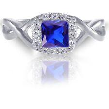 White Gold Infinity Celtic Square Princess Cut Tanzanite CZ Sterling Silver Ring