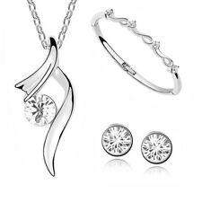 Damen Schmuck Set Halskette Ohrstecker Armband Zirkonia weißgold plattiert