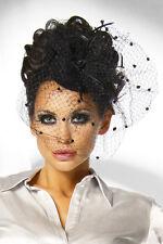 20er Jahre Vintage Burlesque Lolita Haar-KAPPE-MINI-HUT-Schleier Karneval
