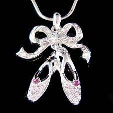 w Swarovski Crystal ~Purple BALLERINA Slippers Ballet Dance Shoes Charm Necklace