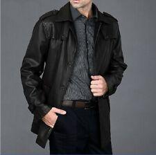 Black Leather Trench Coat Men Long Coat Size S M L XL XXL Custom Made Order TBLC