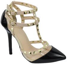 Wild Diva Women Stiletto Heels Pointy Studded Pumps Strap Black Patent ADORA-119