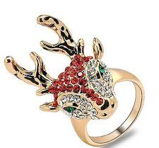 Christmas Animal Deer Red Silver Crystal Gold Tone Ring UK Shop