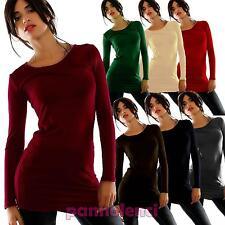 Maglietta Maxitop girocollo FELPATO top maglia lunga donna basic nuovo AS-919-1