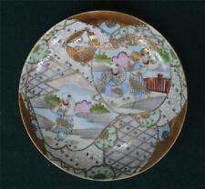 Antique Japanese Satsuma Figurine Plate / Saucer Oriental Japan Men, Ladys