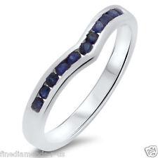 Blue Sapphire Wishbone Shaped Half Eternity Wedding Ring in White & Yellow Gold