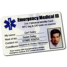 Medico ID Card emergenza identità Wallet Purse. SMART QR NFC Bracciale opzioni