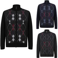Mens Zip Up Long Sleeve Knitted Cardigan Diamond Style Zipper Sweatshirts Jumper