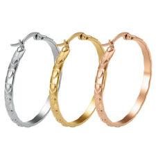 1 Pair Women Stainless Steel Heart Hoop Earrings Wedding Gift Silver/Rose/Gold