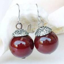AU SELLER Chic 14mm Huge Natural Carnelian Silver Earrings e047-3