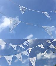 Carta Nuziale Bandierine-Decorazione Bunting pattern di bandiera bianca in pizzo MR Mrs Cuore