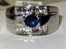 Z3463 montana SAPPHIRE STAINLESS STEEL MENS PINKY SIMULATED DIAMOND RING SIGNET