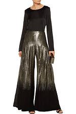 $2290 NEW Oscar de la Renta Pleated Plisse Metallic Lame Silk Wide Leg Pants 2 8