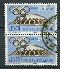 ITALIE 1960, timbre 819, SPORT, JEUX OLYMPIQUES ROME, PETIT PALAIS, oblitéré