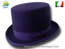 Cappello a cilindro in feltro di lana viola