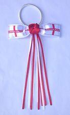 Red White George Cross Flag Streamer Ribbon Hair Bow Bobble World Cup Football
