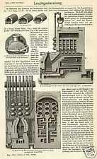 LEUCHTGAS Stadtgas Gaswerk Gaserzeugung STICHE um 1905 Gasversorgung