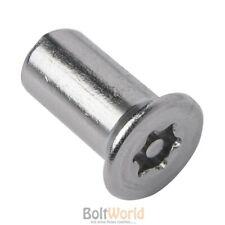 COUNTERSUNK FLAT TORX 6-LOBE PIN SECURITY BARREL NUTS FOR MACHINE SCREWS / BOLTS